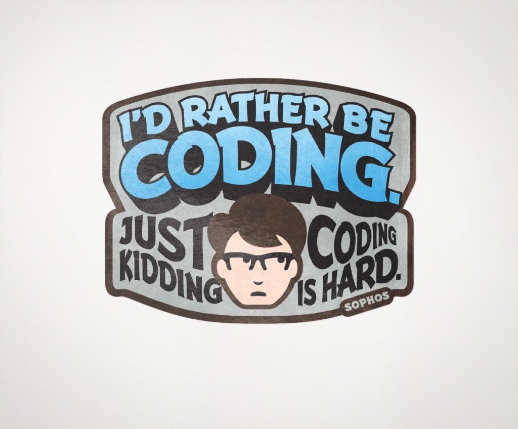 "Sophos ""I'd Rather Be Coding"" Laptop Sticker"