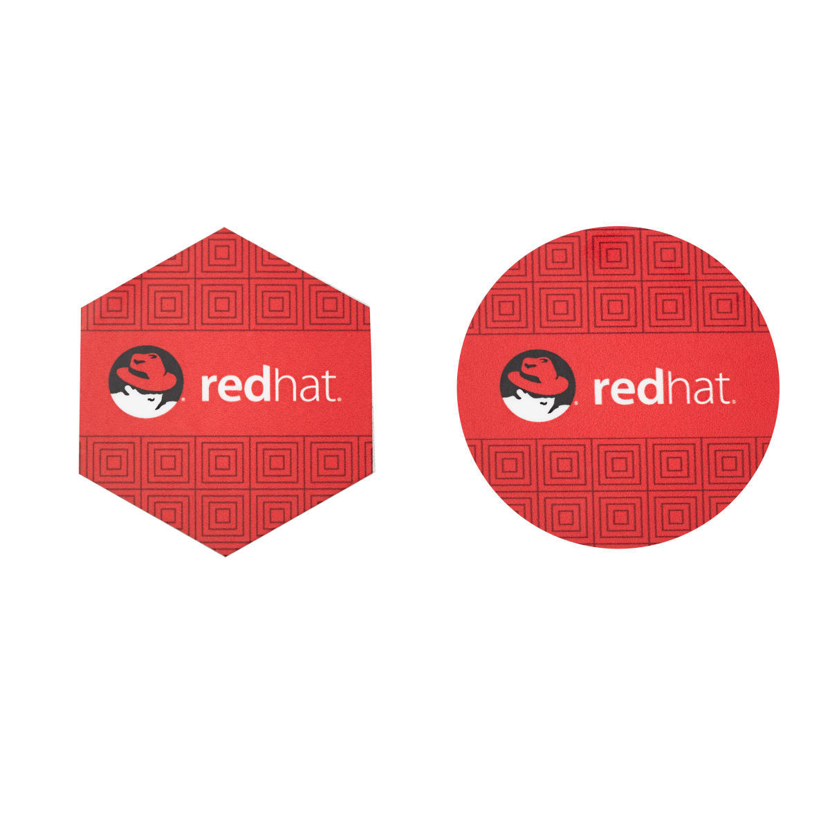 Red Hat Hex/Circle Stickers-PKG/2